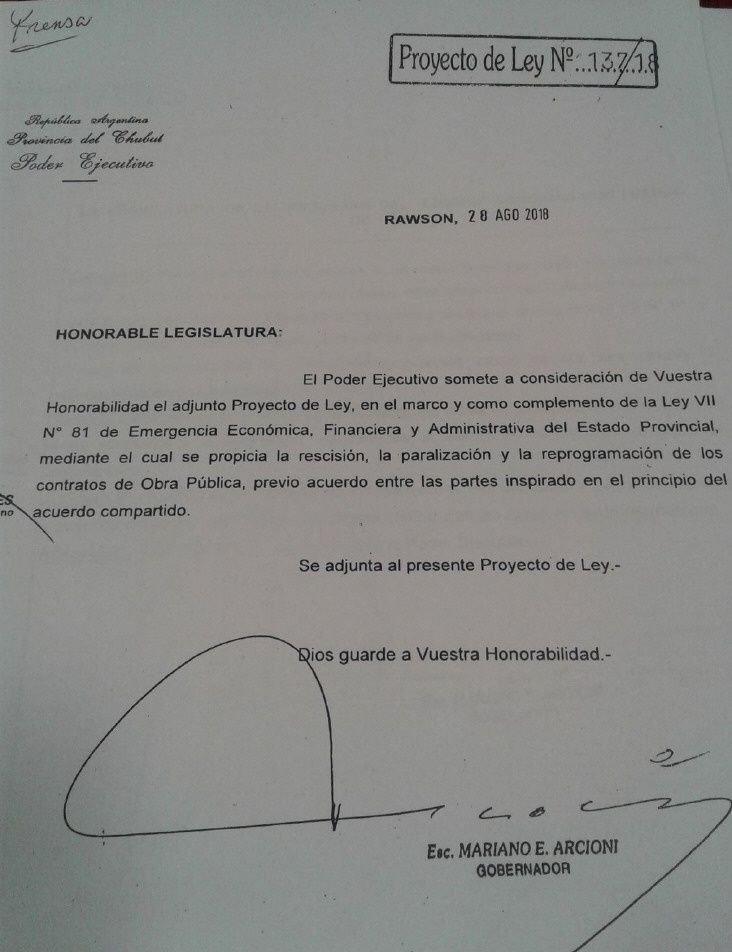 Chubut declara en emergencia la obra pública provincial